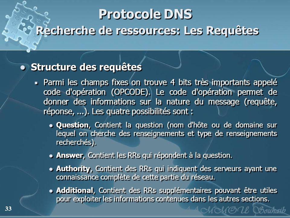 33 Protocole DNS Recherche de ressources: Les Requêtes Structure des requêtes Parmi les champs fixes on trouve 4 bits très importants appelé code d'op