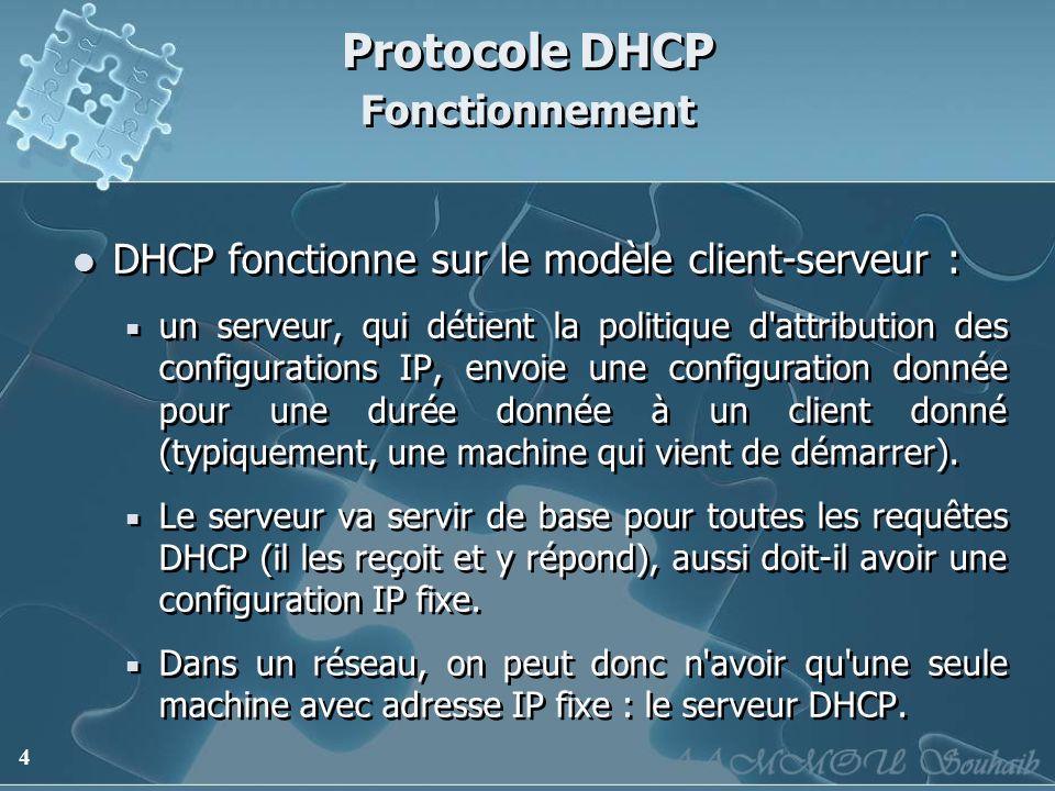 4 Protocole DHCP Fonctionnement DHCP fonctionne sur le modèle client-serveur : un serveur, qui détient la politique d'attribution des configurations I