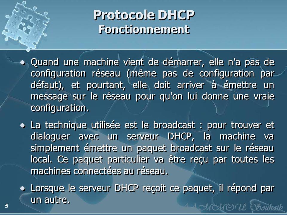 5 Protocole DHCP Fonctionnement Quand une machine vient de démarrer, elle n'a pas de configuration réseau (même pas de configuration par défaut), et p