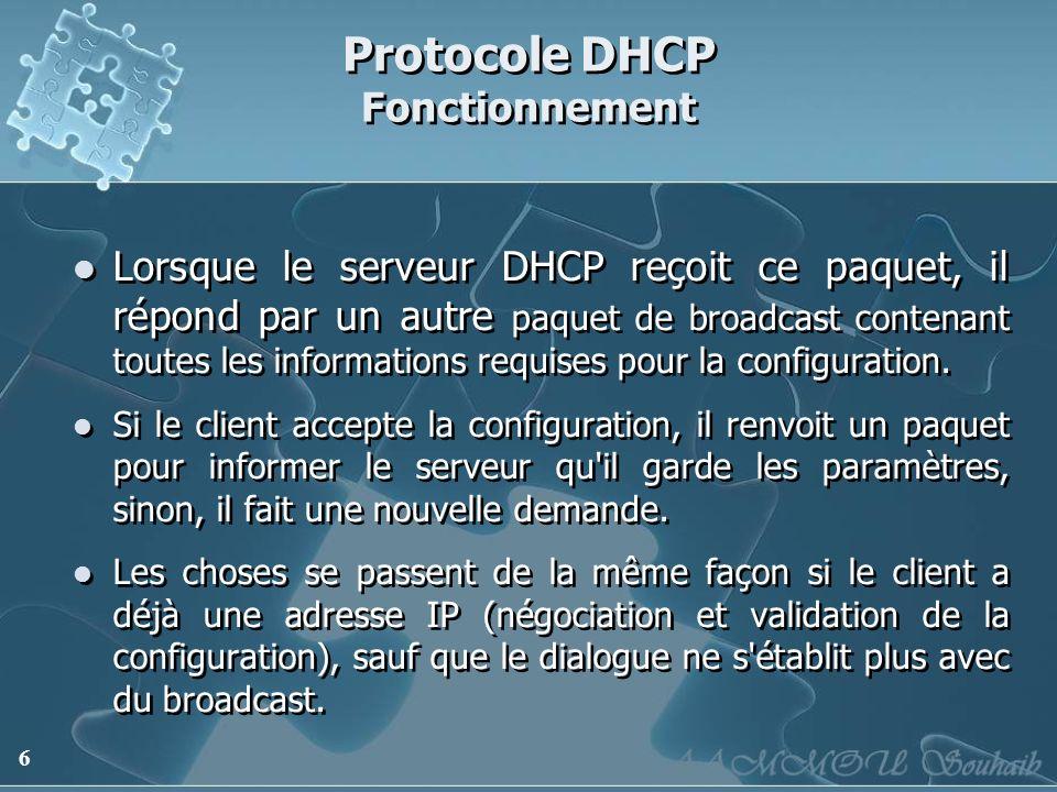 6 Protocole DHCP Fonctionnement Lorsque le serveur DHCP reçoit ce paquet, il répond par un autre paquet de broadcast contenant toutes les informations