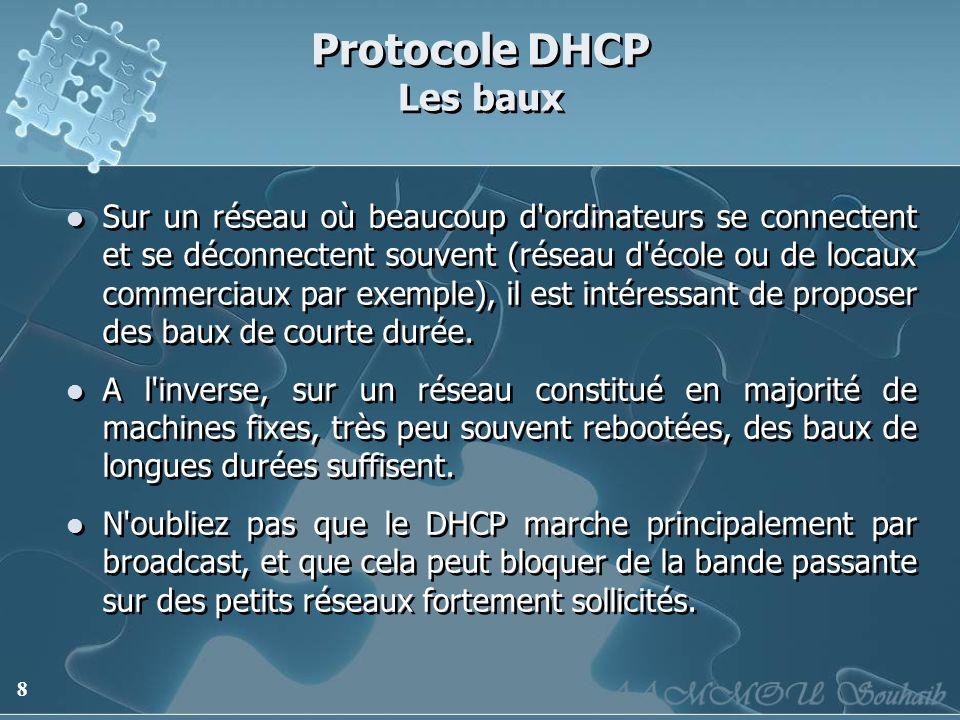 8 Protocole DHCP Les baux Sur un réseau où beaucoup d'ordinateurs se connectent et se déconnectent souvent (réseau d'école ou de locaux commerciaux pa