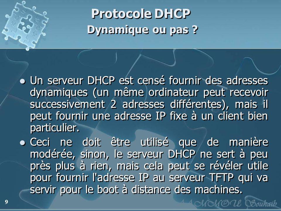 9 Protocole DHCP Dynamique ou pas ? Un serveur DHCP est censé fournir des adresses dynamiques (un même ordinateur peut recevoir successivement 2 adres