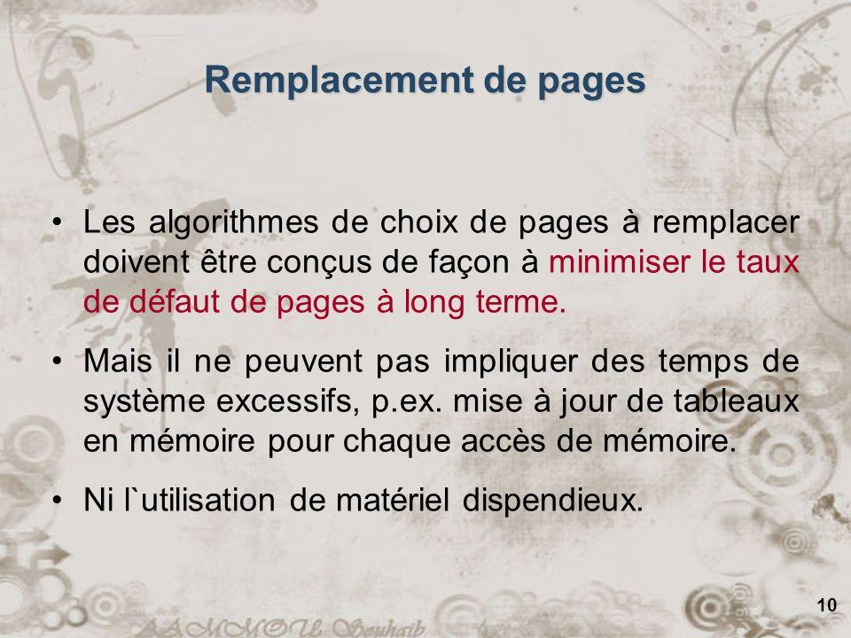 10 Remplacement de pages Les algorithmes de choix de pages à remplacer doivent être conçus de façon à minimiser le taux de défaut de pages à long term