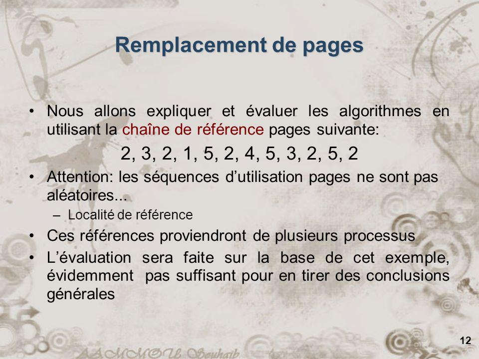 12 Remplacement de pages Nous allons expliquer et évaluer les algorithmes en utilisant la chaîne de référence pages suivante: 2, 3, 2, 1, 5, 2, 4, 5,