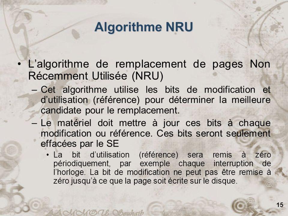 15 Algorithme NRU Lalgorithme de remplacement de pages Non Récemment Utilisée (NRU) –Cet algorithme utilise les bits de modification et dutilisation (