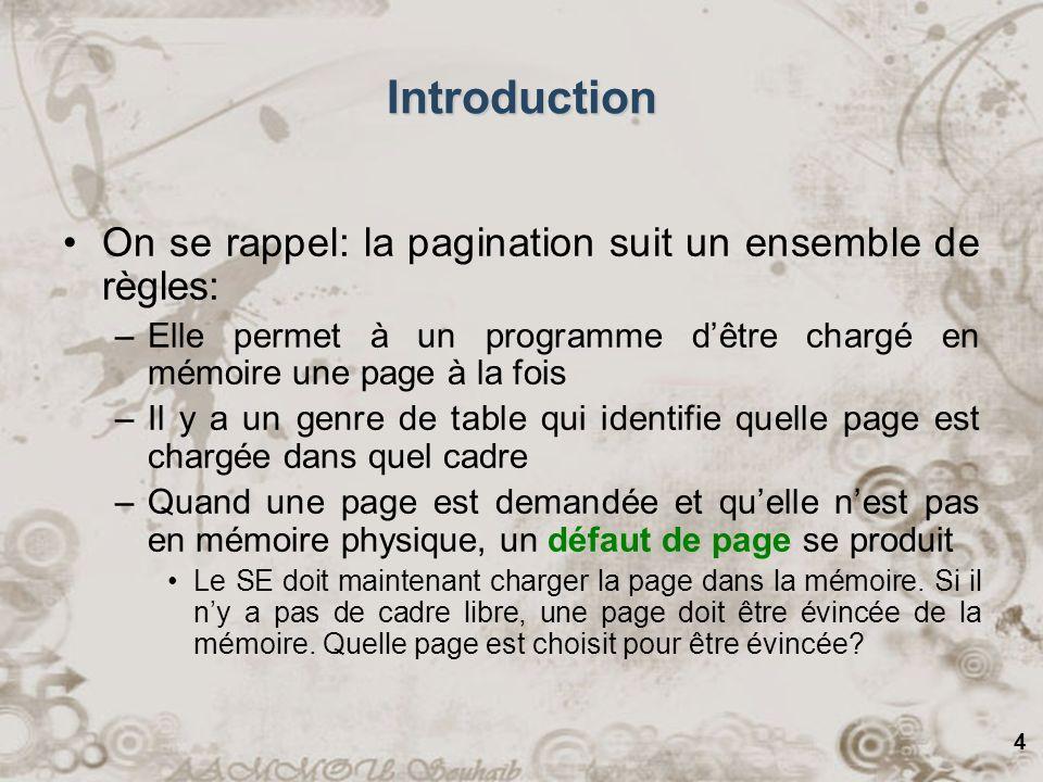 25 Algorithme de deuxième chance –Cet algorithme est une modification du PAPS (FIFO) pour le rendre possiblement plus raisonnable –Avant de remplacer la page la plus vielle, on vérifie la bit dutilisation Si la page est en utilisation, même si elle est vielle, elle se voit donner une deuxième chance et son entrée est déplacée vers la fin de la liste, ce qui a pour effet de la rendre comme une nouvelle page.