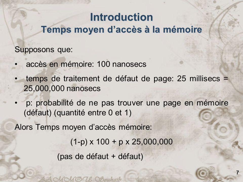 7 Introduction Temps moyen daccès à la mémoire Supposons que: accès en mémoire: 100 nanosecs temps de traitement de défaut de page: 25 millisecs = 25,