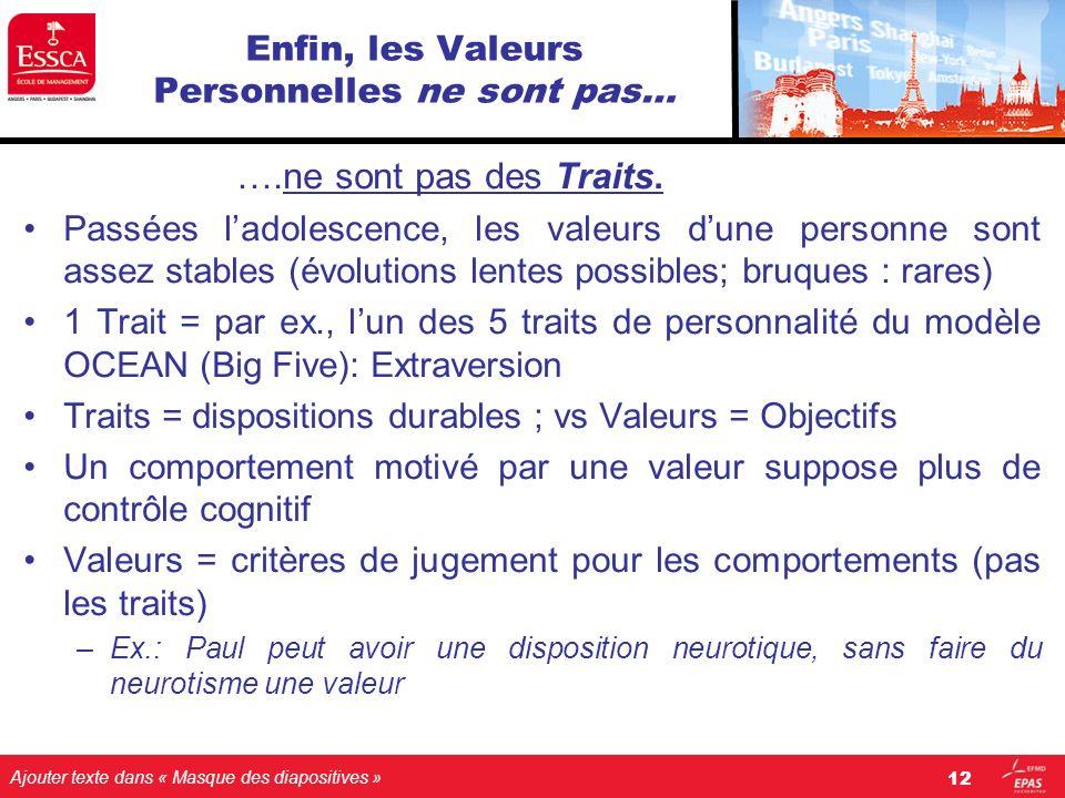 Ajouter texte dans « Masque des diapositives » Enfin, les Valeurs Personnelles ne sont pas… ….ne sont pas des Traits. Passées ladolescence, les valeur