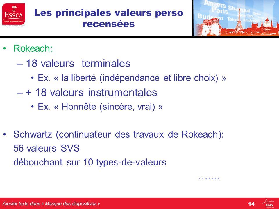 Ajouter texte dans « Masque des diapositives » Les principales valeurs perso recensées Rokeach: –18 valeurs terminales Ex. « la liberté (indépendance