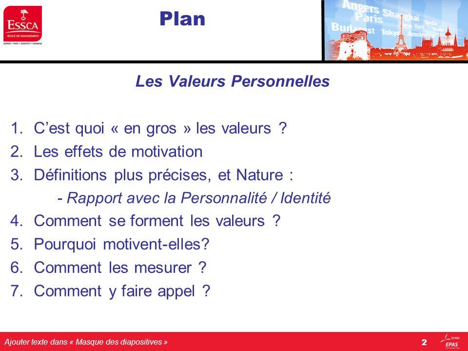 Ajouter texte dans « Masque des diapositives » Plan Les Valeurs Personnelles 1.Cest quoi « en gros » les valeurs ? 2.Les effets de motivation 3.Défini