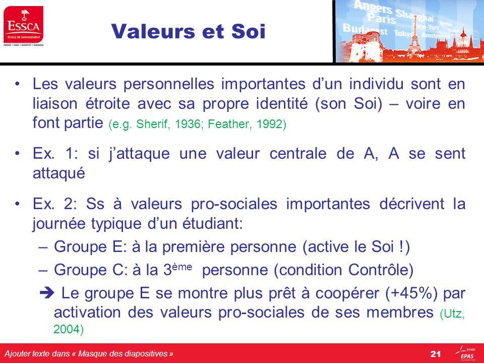 Ajouter texte dans « Masque des diapositives » Valeurs et Soi Les valeurs personnelles importantes dun individu sont en liaison étroite avec sa propre