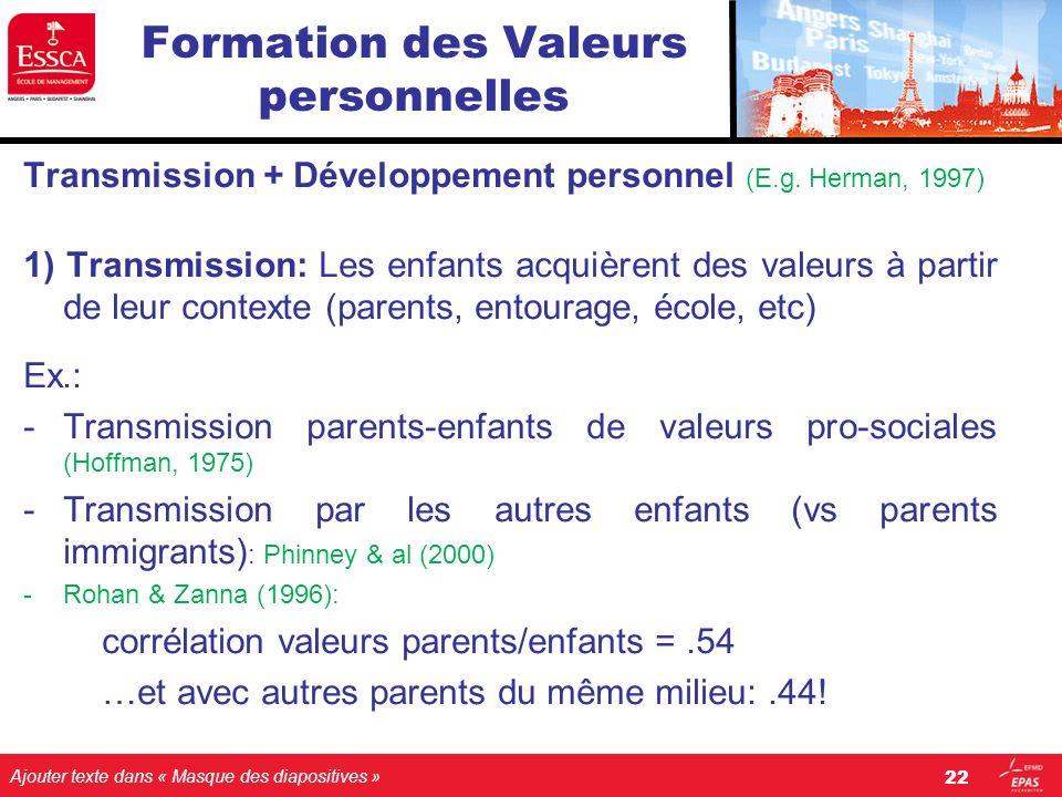 Ajouter texte dans « Masque des diapositives » Formation des Valeurs personnelles Transmission + Développement personnel (E.g. Herman, 1997) 1) Transm