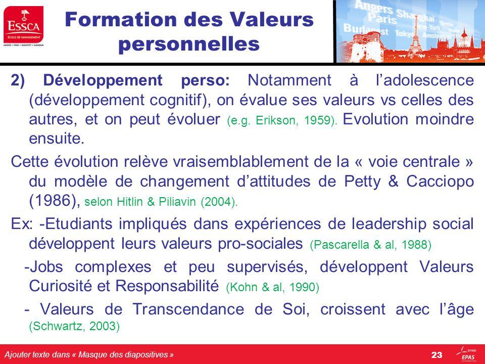 Ajouter texte dans « Masque des diapositives » Formation des Valeurs personnelles 2) Développement perso: Notamment à ladolescence (développement cogn