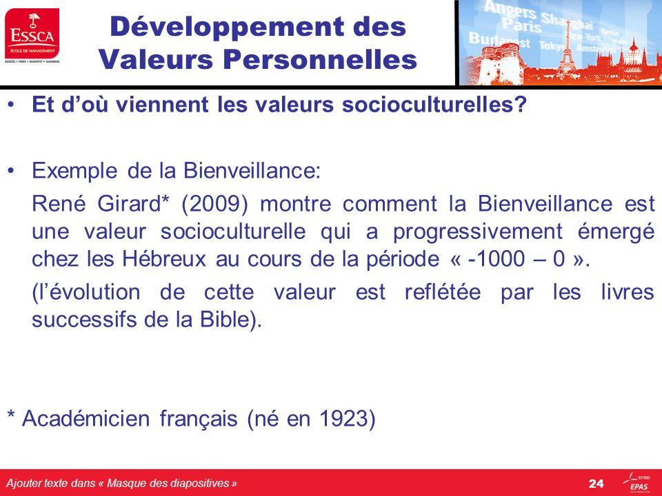 Ajouter texte dans « Masque des diapositives » Développement des Valeurs Personnelles Et doù viennent les valeurs socioculturelles? Exemple de la Bien