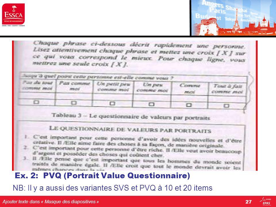 Ajouter texte dans « Masque des diapositives » Ex. 2: PVQ (Portrait Value Questionnaire) NB: Il y a aussi des variantes SVS et PVQ à 10 et 20 items 27