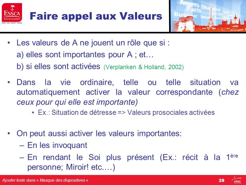 Ajouter texte dans « Masque des diapositives » Faire appel aux Valeurs Les valeurs de A ne jouent un rôle que si : a) elles sont importantes pour A ;