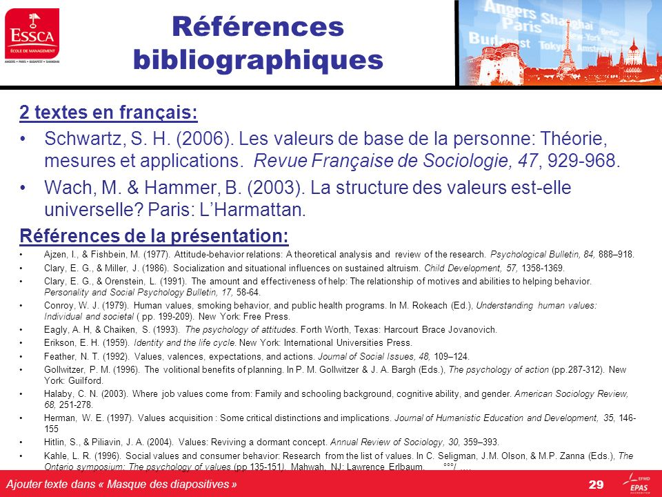 Ajouter texte dans « Masque des diapositives » Références bibliographiques 2 textes en français: Schwartz, S. H. (2006). Les valeurs de base de la per