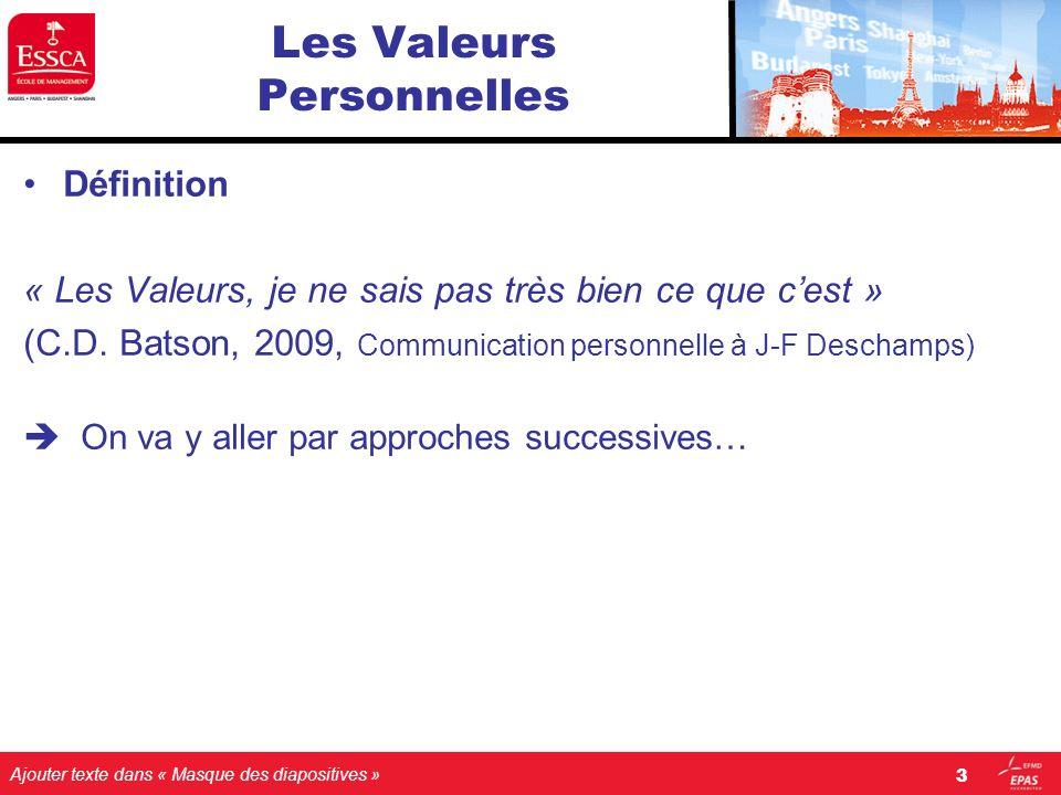 Ajouter texte dans « Masque des diapositives » Les Valeurs Personnelles Définition « Les Valeurs, je ne sais pas très bien ce que cest » (C.D. Batson,