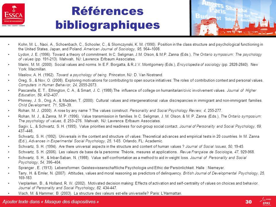 Ajouter texte dans « Masque des diapositives » Références bibliographiques Kohn, M. L., Naoi, A., Schoenbach, C., Schooler, C., & Slomczynski, K. M. (