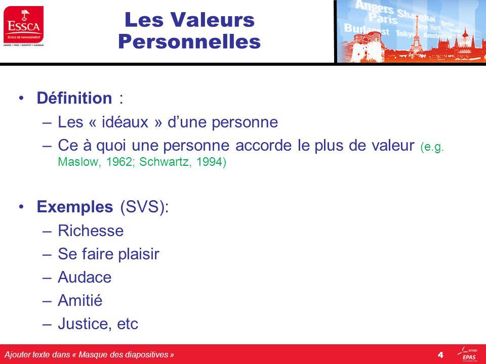 Ajouter texte dans « Masque des diapositives » 4 Les Valeurs Personnelles Définition : –Les « idéaux » dune personne –Ce à quoi une personne accorde l