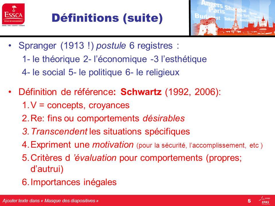 Ajouter texte dans « Masque des diapositives » Définitions (suite) Spranger (1913 !) postule 6 registres : 1- le théorique 2- léconomique -3 lesthétiq