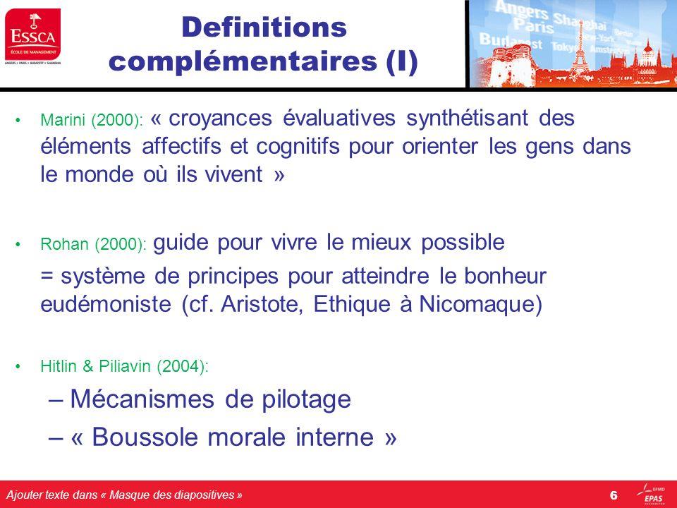 Ajouter texte dans « Masque des diapositives » Definitions complémentaires (I) Marini (2000): « croyances évaluatives synthétisant des éléments affect