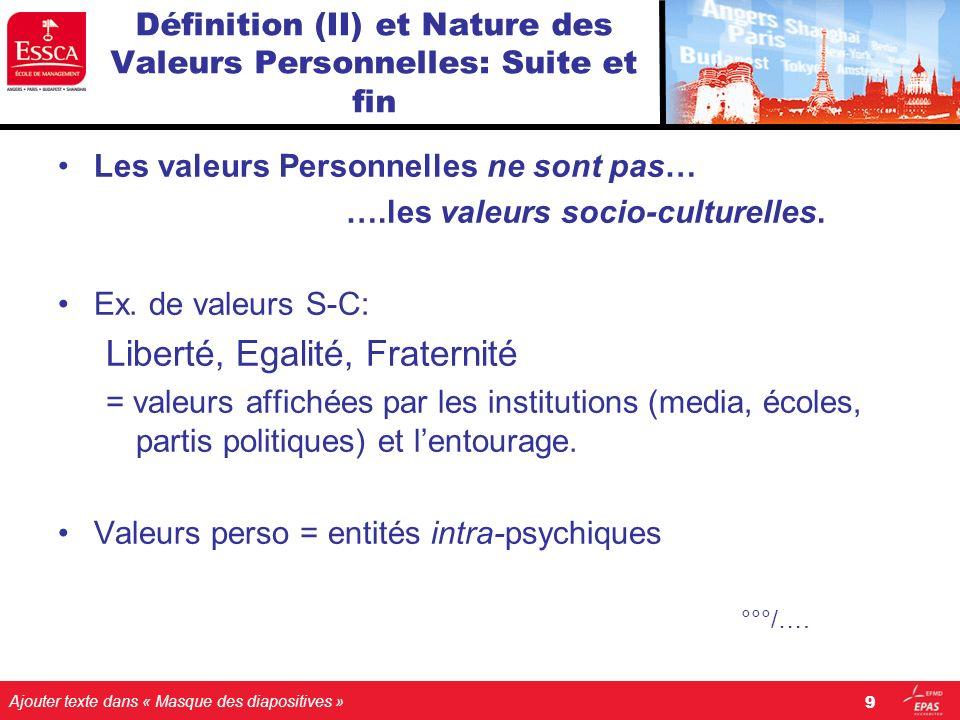 Ajouter texte dans « Masque des diapositives » Définition (II) et Nature des Valeurs Personnelles: Suite et fin Les valeurs Personnelles ne sont pas…