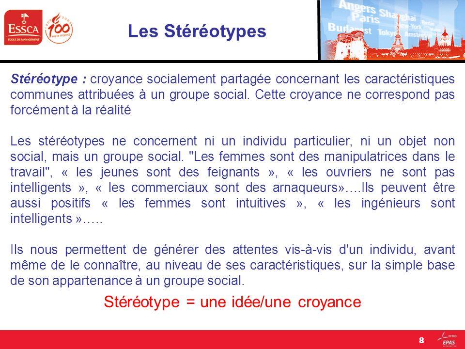 Les Stéréotypes Les stéréotypes influencent la manière dont nous traitons les informations sociales.