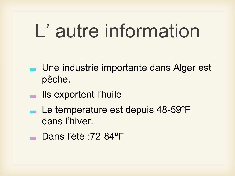 L autre information Une industrie importante dans Alger est pêche. Ils exportent lhuile Le temperature est depuis 48-59ºF dans lhiver. Dans lété :72-8