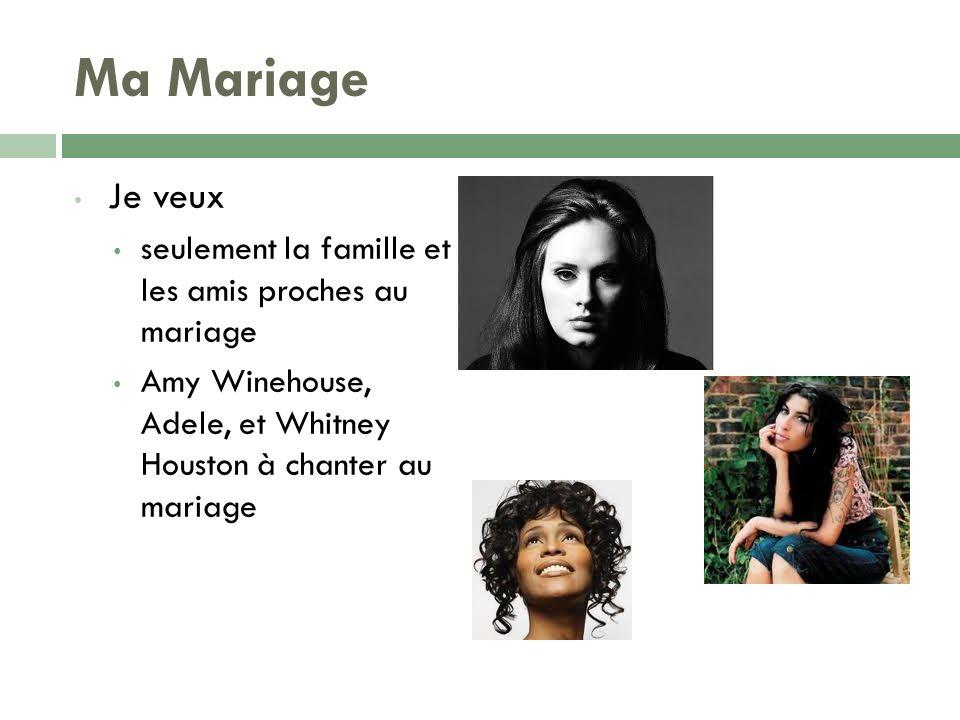Ma Mariage Je veux seulement la famille et les amis proches au mariage Amy Winehouse, Adele, et Whitney Houston à chanter au mariage