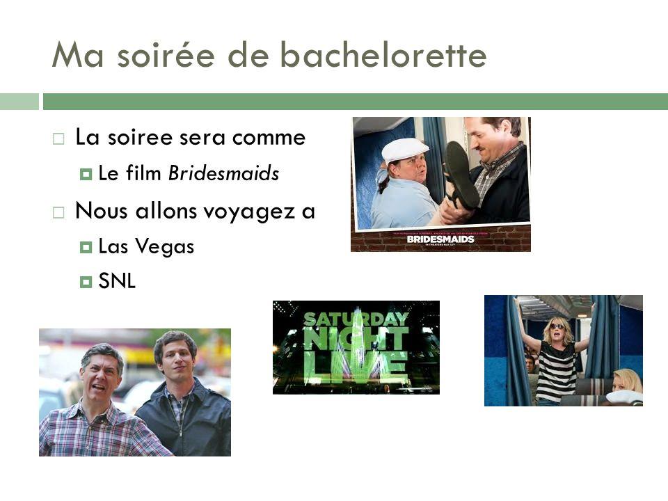 Ma soirée de bachelorette La soiree sera comme Le film Bridesmaids Nous allons voyagez a Las Vegas SNL