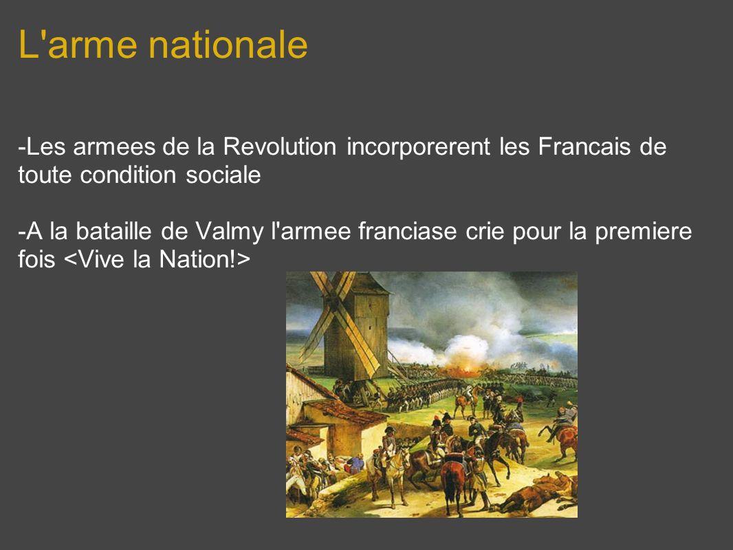 L'arme nationale -Les armees de la Revolution incorporerent les Francais de toute condition sociale -A la bataille de Valmy l'armee franciase crie pou