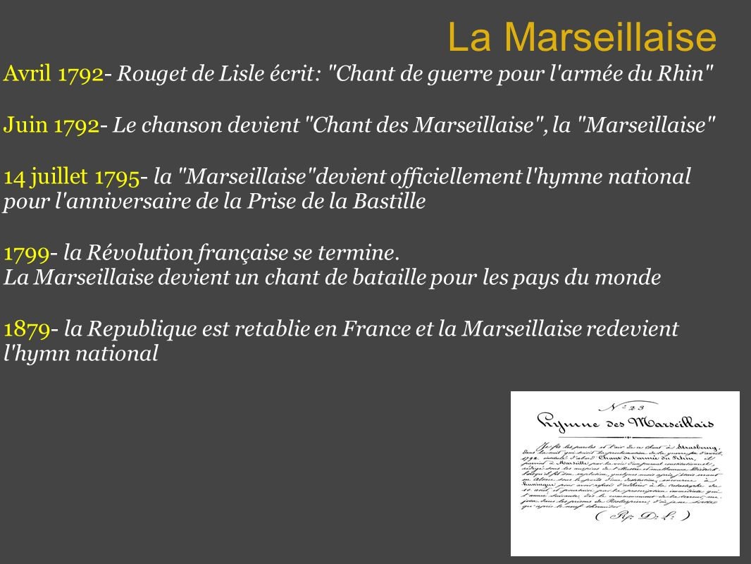 La Marseillaise Avril 1792 - Rouget de Lisle écrit: