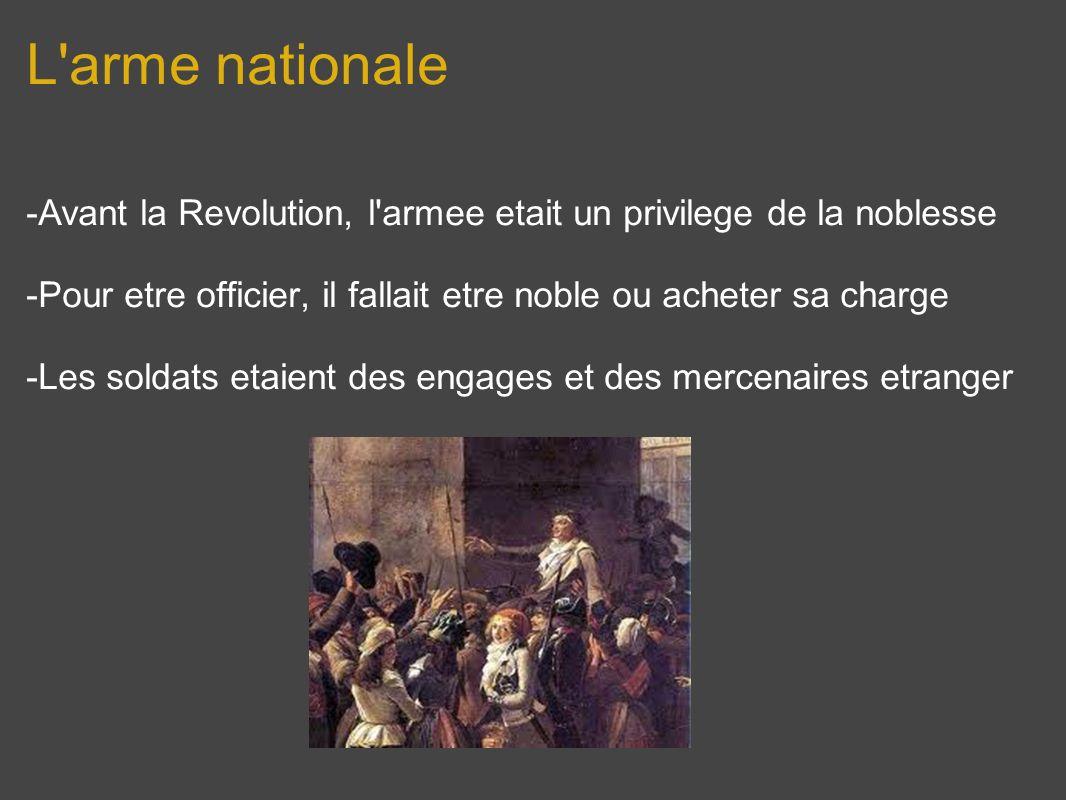 L'arme nationale -Avant la Revolution, l'armee etait un privilege de la noblesse -Pour etre officier, il fallait etre noble ou acheter sa charge -Les