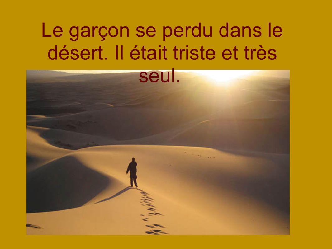 Le garçon se perdu dans le désert. Il était triste et très seul.
