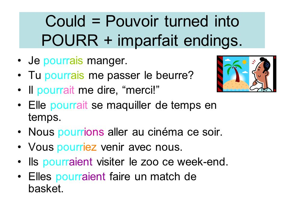 Would like= Vouloir turned into VOUDR + imparfait endings.