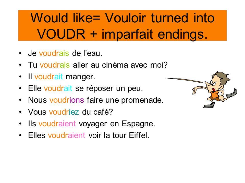 Would like= Vouloir turned into VOUDR + imparfait endings. Je voudrais de leau. Tu voudrais aller au cinéma avec moi? Il voudrait manger. Elle voudrai