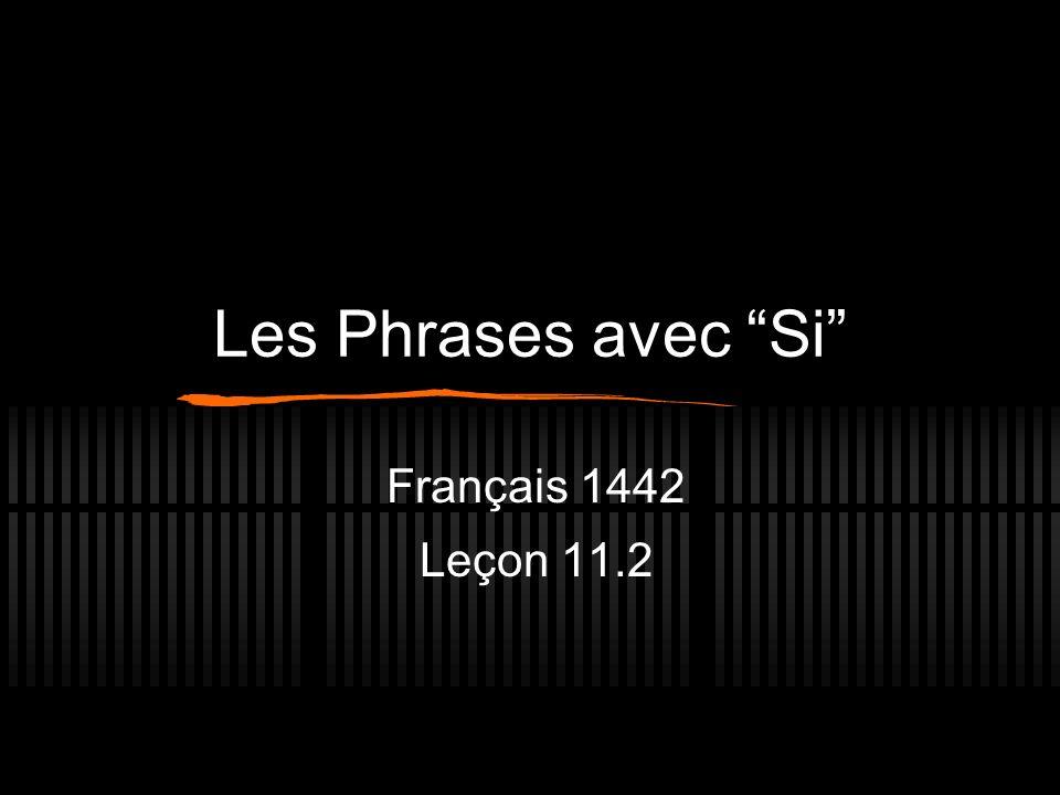 Les Phrases avec Si Français 1442 Leçon 11.2