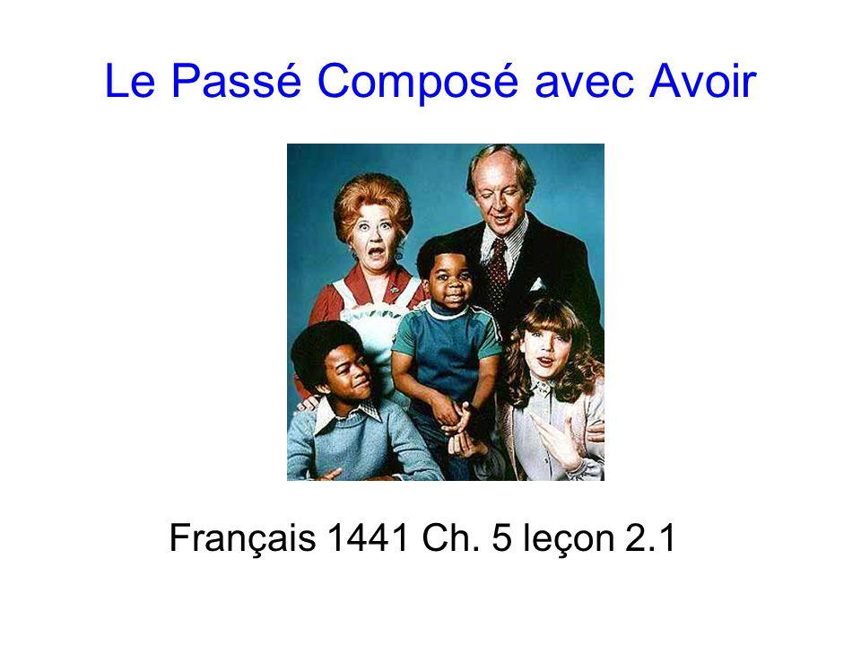 Le Passé Composé avec Avoir Français 1441 Ch. 5 leçon 2.1