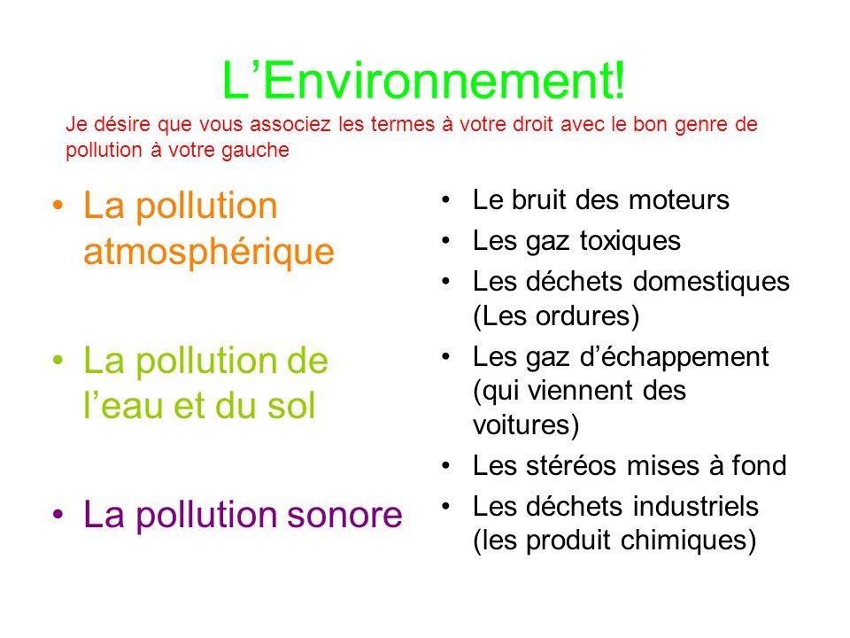 LEnvironnement! La pollution atmosphérique La pollution de leau et du sol La pollution sonore Le bruit des moteurs Les gaz toxiques Les déchets domest