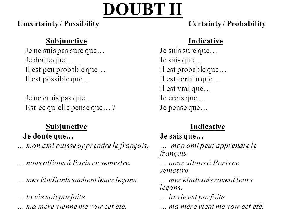 OBLIGATION Certain expressions in French indicate obligation (il faut que, il est nécessaire que, etc.).