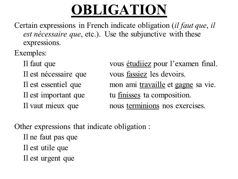 VOLITION Certain verbs in French indicate volition : a desire or wish (vouloir, aimer, préférer, etc.).