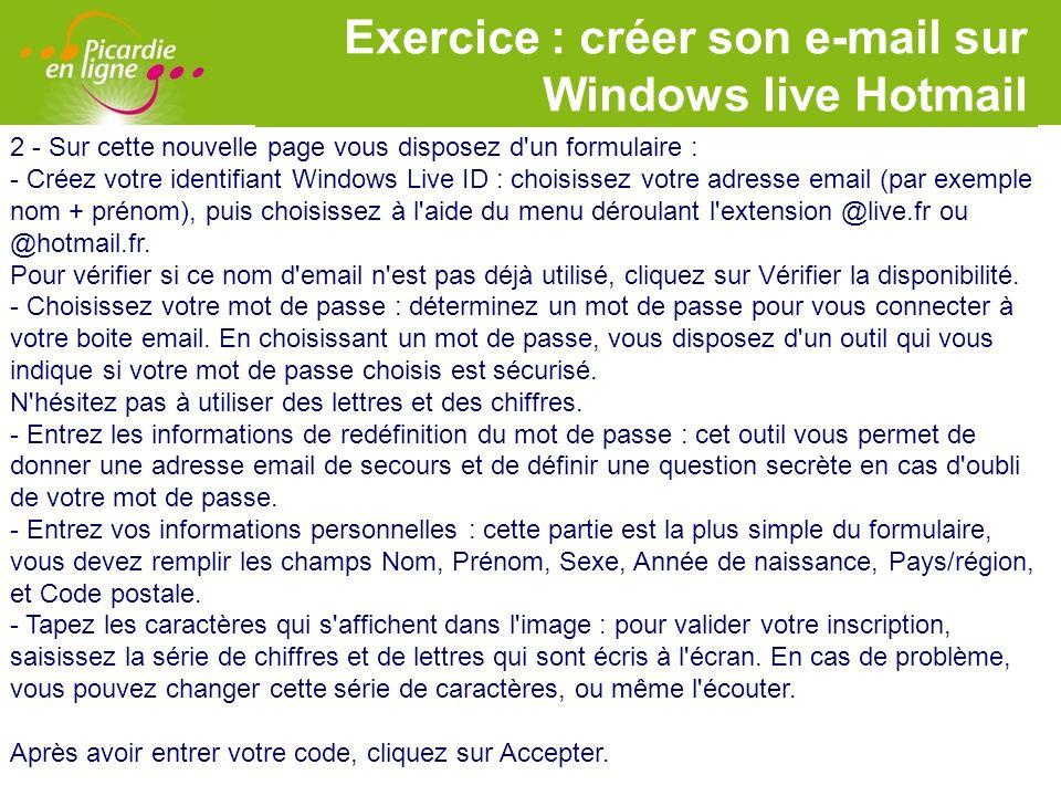 LOGO Exercice : créer son e-mail sur Windows live Hotmail