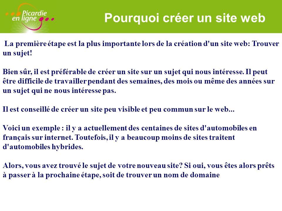 LOGO 27/11/2007 Pourquoi créer un site web La première étape est la plus importante lors de la création d'un site web: Trouver un sujet! Bien sûr, il