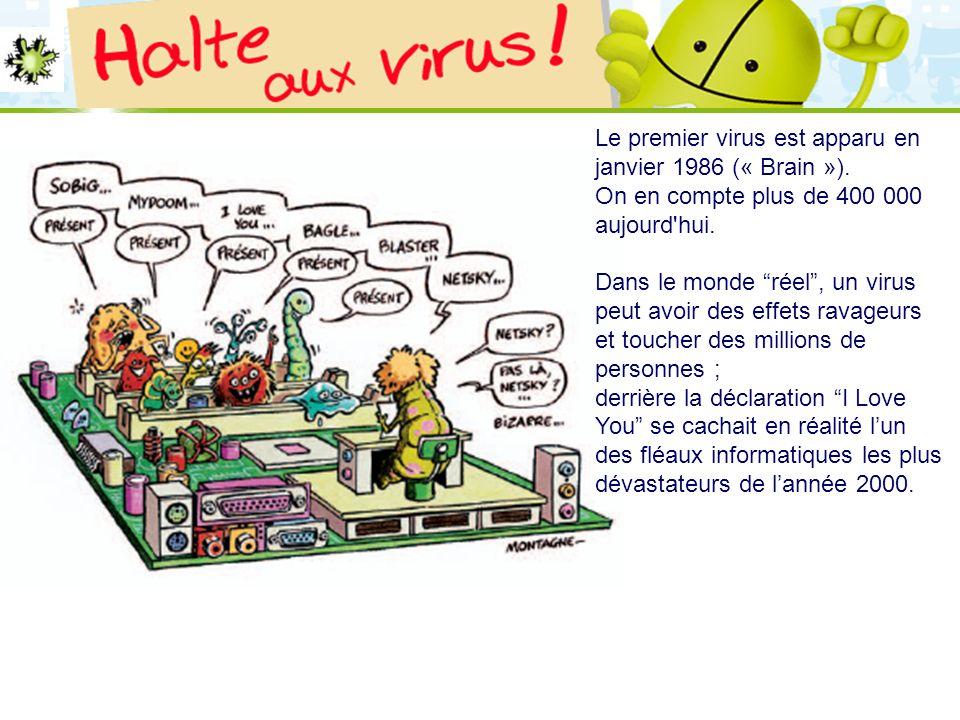 LOGO 27/11/2007 Le premier virus est apparu en janvier 1986 (« Brain »). On en compte plus de 400 000 aujourd'hui. Dans le monde réel, un virus peut a
