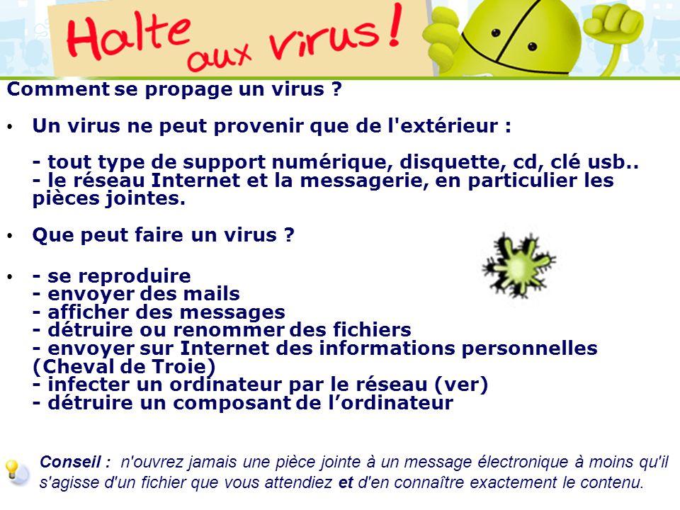LOGO 27/11/2007 Comment se propage un virus ? Un virus ne peut provenir que de l'extérieur : - tout type de support numérique, disquette, cd, clé usb.