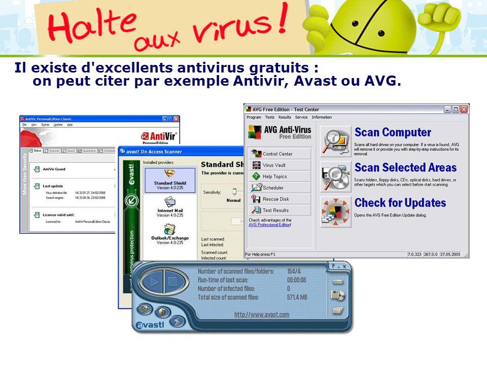 LOGO 27/11/2007 Il existe d'excellents antivirus gratuits : on peut citer par exemple Antivir, Avast ou AVG.