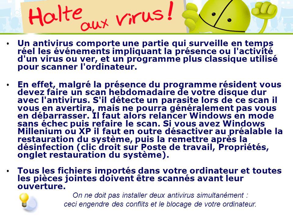 LOGO 27/11/2007 Un antivirus comporte une partie qui surveille en temps réel les événements impliquant la présence ou l'activité d'un virus ou ver, et