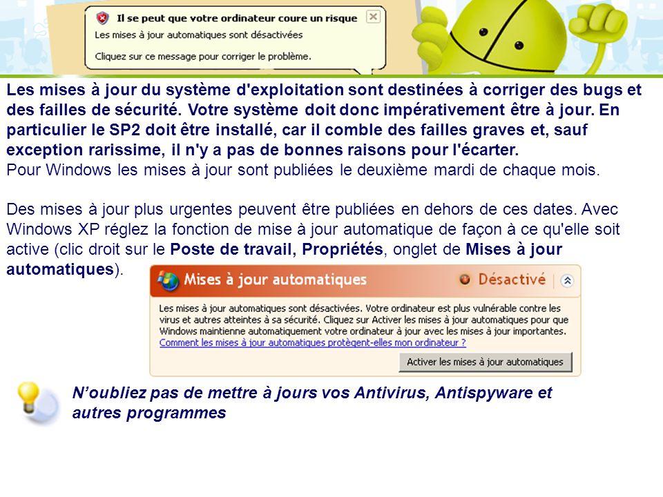 LOGO 27/11/2007 Les mises à jour du système d'exploitation sont destinées à corriger des bugs et des failles de sécurité. Votre système doit donc impé