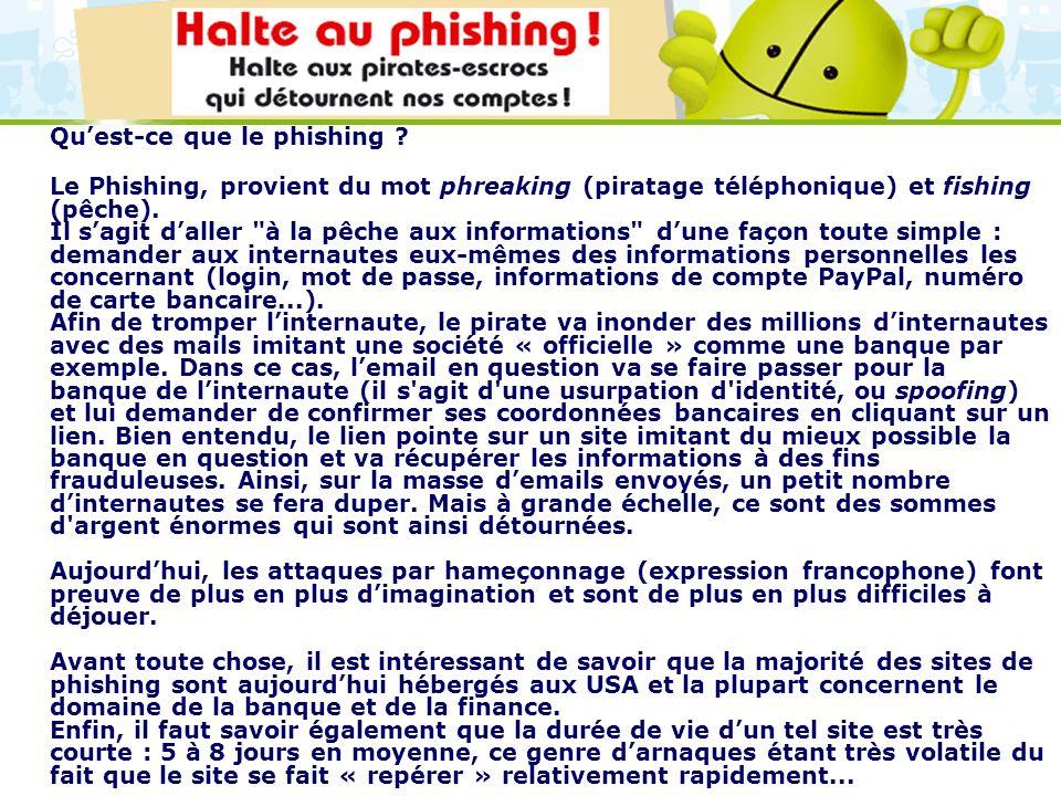 LOGO 27/11/2007 Quest-ce que le phishing ? Le Phishing, provient du mot phreaking (piratage téléphonique) et fishing (pêche). Il sagit daller